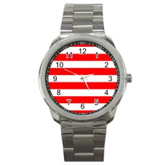 Christmas Red And White Cabana Stripes Sport Metal Watch by PodArtist