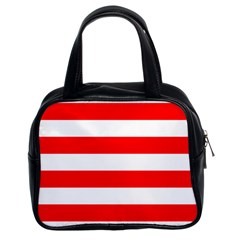 Christmas Red And White Cabana Stripes Classic Handbags (2 Sides) by PodArtist