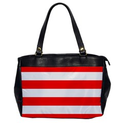 Christmas Red And White Cabana Stripes Office Handbags by PodArtist