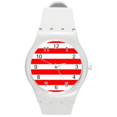 Christmas Red And White Cabana Stripes Round Plastic Sport Watch (m) by PodArtist