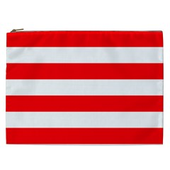Christmas Red And White Cabana Stripes Cosmetic Bag (xxl)  by PodArtist
