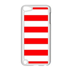 Christmas Red And White Cabana Stripes Apple Ipod Touch 5 Case (white) by PodArtist
