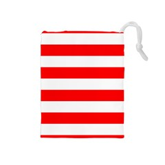 Christmas Red And White Cabana Stripes Drawstring Pouches (medium)  by PodArtist