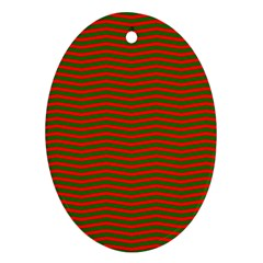 Christmas Red And Green Chevron Zig Zag Stripes Ornament (oval) by PodArtist