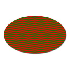 Christmas Red And Green Chevron Zig Zag Stripes Oval Magnet by PodArtist