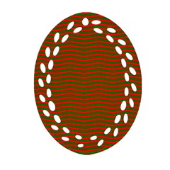 Christmas Red And Green Chevron Zig Zag Stripes Ornament (oval Filigree) by PodArtist
