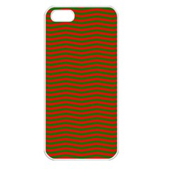 Christmas Red And Green Chevron Zig Zag Stripes Apple Iphone 5 Seamless Case (white) by PodArtist