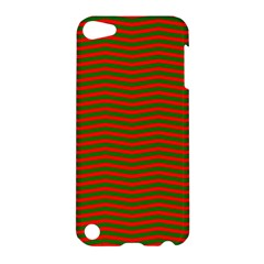 Christmas Red And Green Chevron Zig Zag Stripes Apple Ipod Touch 5 Hardshell Case by PodArtist