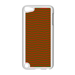 Christmas Red And Green Chevron Zig Zag Stripes Apple Ipod Touch 5 Case (white) by PodArtist