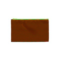 Christmas Red And Green Chevron Zig Zag Stripes Cosmetic Bag (xs) by PodArtist