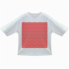 Christmas Red And White Chevron Stripes Infant/toddler T Shirts by PodArtist