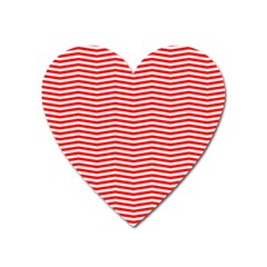 Christmas Red And White Chevron Stripes Heart Magnet by PodArtist