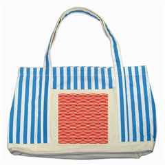 Christmas Red And White Chevron Stripes Striped Blue Tote Bag by PodArtist