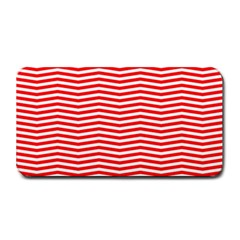 Christmas Red And White Chevron Stripes Medium Bar Mats by PodArtist