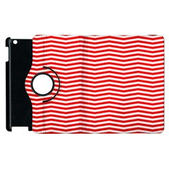 Christmas Red And White Chevron Stripes Apple Ipad 3/4 Flip 360 Case by PodArtist