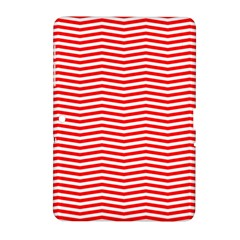 Christmas Red And White Chevron Stripes Samsung Galaxy Tab 2 (10 1 ) P5100 Hardshell Case  by PodArtist