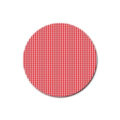 Small Snow White And Christmas Red Gingham Check Plaid Rubber Coaster (round)  by PodArtist