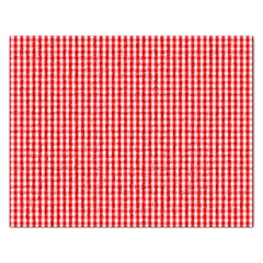 Small Snow White And Christmas Red Gingham Check Plaid Rectangular Jigsaw Puzzl by PodArtist