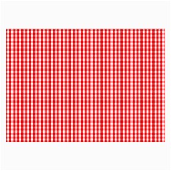 Small Snow White And Christmas Red Gingham Check Plaid Large Glasses Cloth (2 Side) by PodArtist