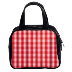 Small Snow White And Christmas Red Gingham Check Plaid Classic Handbags (2 Sides) by PodArtist