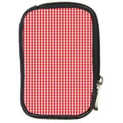 Small Snow White And Christmas Red Gingham Check Plaid Compact Camera Cases by PodArtist
