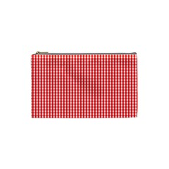 Small Snow White And Christmas Red Gingham Check Plaid Cosmetic Bag (small)  by PodArtist