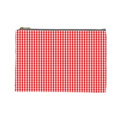 Small Snow White And Christmas Red Gingham Check Plaid Cosmetic Bag (large)  by PodArtist
