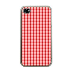 Small Snow White And Christmas Red Gingham Check Plaid Apple Iphone 4 Case (clear) by PodArtist