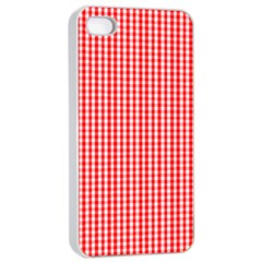 Small Snow White And Christmas Red Gingham Check Plaid Apple Iphone 4/4s Seamless Case (white) by PodArtist