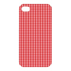Small Snow White And Christmas Red Gingham Check Plaid Apple Iphone 4/4s Hardshell Case by PodArtist