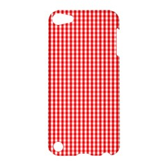 Small Snow White And Christmas Red Gingham Check Plaid Apple Ipod Touch 5 Hardshell Case by PodArtist