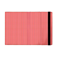 Small Snow White And Christmas Red Gingham Check Plaid Ipad Mini 2 Flip Cases by PodArtist