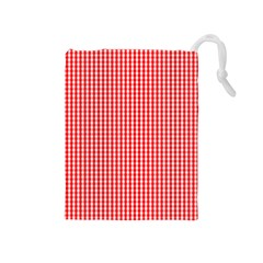 Small Snow White And Christmas Red Gingham Check Plaid Drawstring Pouches (medium)  by PodArtist