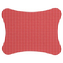 Small Snow White And Christmas Red Gingham Check Plaid Jigsaw Puzzle Photo Stand (bow) by PodArtist