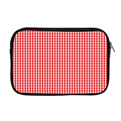 Small Snow White And Christmas Red Gingham Check Plaid Apple Macbook Pro 17  Zipper Case by PodArtist