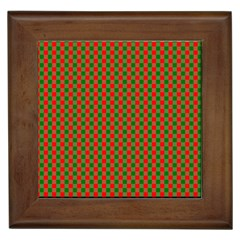 Large Red And Green Christmas Gingham Check Tartan Plaid Framed Tiles by PodArtist