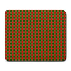 Large Red And Green Christmas Gingham Check Tartan Plaid Large Mousepads by PodArtist