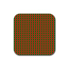 Large Red And Green Christmas Gingham Check Tartan Plaid Rubber Coaster (square)  by PodArtist