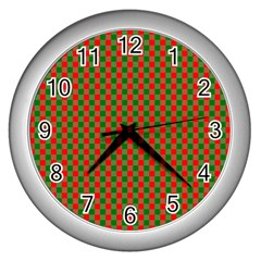 Large Red And Green Christmas Gingham Check Tartan Plaid Wall Clocks (silver)  by PodArtist