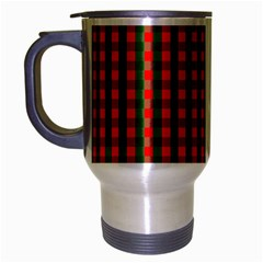 Large Red And Green Christmas Gingham Check Tartan Plaid Travel Mug (silver Gray) by PodArtist