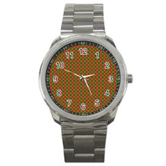 Large Red And Green Christmas Gingham Check Tartan Plaid Sport Metal Watch by PodArtist