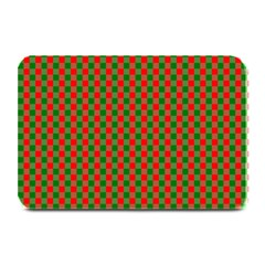 Large Red And Green Christmas Gingham Check Tartan Plaid Plate Mats by PodArtist