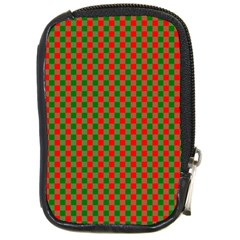 Large Red And Green Christmas Gingham Check Tartan Plaid Compact Camera Cases by PodArtist