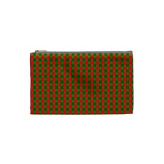 Large Red And Green Christmas Gingham Check Tartan Plaid Cosmetic Bag (small)  by PodArtist