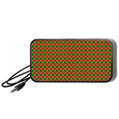 Large Red And Green Christmas Gingham Check Tartan Plaid Portable Speaker by PodArtist
