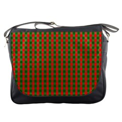 Large Red And Green Christmas Gingham Check Tartan Plaid Messenger Bags by PodArtist