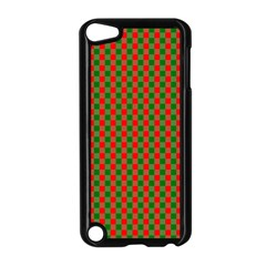 Large Red And Green Christmas Gingham Check Tartan Plaid Apple Ipod Touch 5 Case (black) by PodArtist