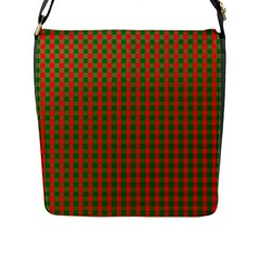 Large Red And Green Christmas Gingham Check Tartan Plaid Flap Messenger Bag (l)  by PodArtist