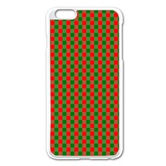 Large Red And Green Christmas Gingham Check Tartan Plaid Apple Iphone 6 Plus/6s Plus Enamel White Case by PodArtist