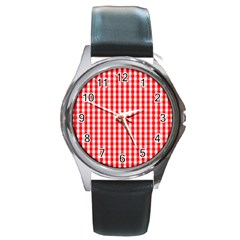 Large Christmas Red And White Gingham Check Plaid Round Metal Watch by PodArtist